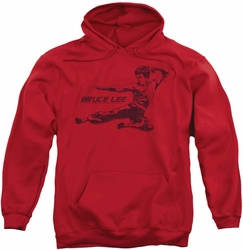 Bruce Lee pull-over hoodie Line Kick adult red