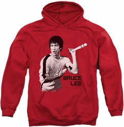 Bruce Lee pull-over hoodie Nunchucks adult red