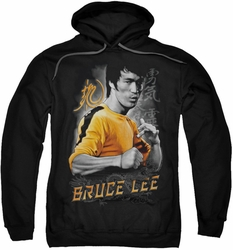 Bruce Lee pull-over hoodie Yellow Dragon adult black