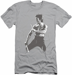 Bruce Lee slim-fit t-shirt Chinese Characters mens silver