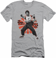 Bruce Lee slim-fit t-shirt Meaning Of Life mens silver