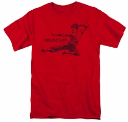 Bruce Lee t-shirt Line Kick mens red