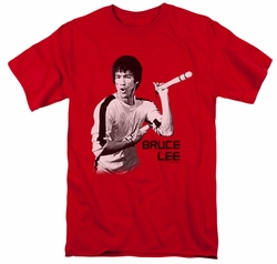 Bruce Lee t-shirt Nunchucks mens red