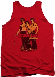 Bruce Lee tank top Nunchucks adult red