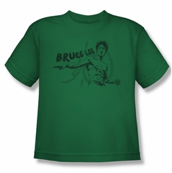 Bruce Lee youth teen t-shirt Brush Lee kelly green