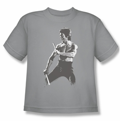 Bruce Lee youth teen t-shirt Chinese Characters silver