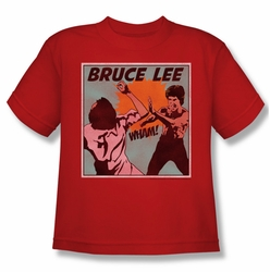 Bruce Lee youth teen t-shirt Comic Panel red
