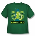 Bruce Lee youth teen t-shirt Double Dragons kelly green