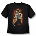Bruce Lee youth teen t-shirt Dragon Fire black