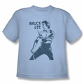Bruce Lee youth teen t-shirt Fighter light blue