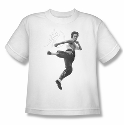 Bruce Lee youth teen t-shirt Flying Kick white