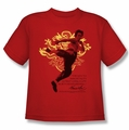 Bruce Lee youth teen t-shirt Immortal Dragon red