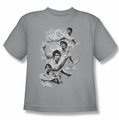 Bruce Lee youth teen t-shirt In Motion silver