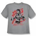 Bruce Lee youth teen t-shirt Ink Splatter silver