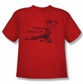 Bruce Lee youth teen t-shirt Line Kick red
