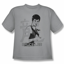 Bruce Lee youth teen t-shirt Punch silver