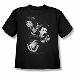 Bruce Lee youth teen t-shirt Sounds of The Dragon black