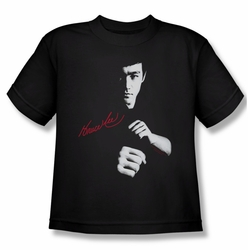 Bruce Lee youth teen t-shirt The Dragon Awaits black