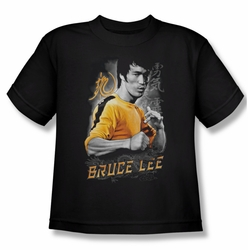 Bruce Lee youth teen t-shirt Yellow Dragon black