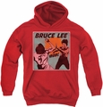 Bruce Lee youth teen hoodie Comic Panel red