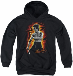 Bruce Lee youth teen hoodie Dragon Fire black