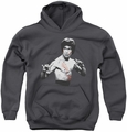 Bruce Lee youth teen hoodie Final Confrontation charcoal