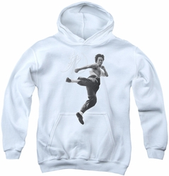 Bruce Lee youth teen hoodie Flying Kick white