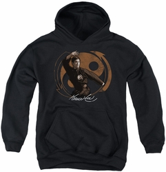 Bruce Lee youth teen hoodie Jeet Kun Do Pose black