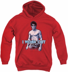 Bruce Lee youth teen hoodie Lee Works Out red