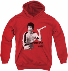 Bruce Lee youth teen hoodie Nunchucks red
