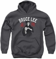 Bruce Lee youth teen hoodie Ready charcoal