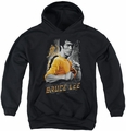 Bruce Lee youth teen hoodie Yellow Dragon black