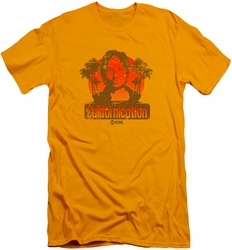 Californication slim-fit t-shirt Hank Retro mens gold