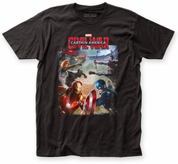 Captain America Civil War Battle fitted jersey tee black mens