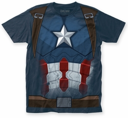 Captain America Civil War Captain CW Suit big print subway tee light navy mens