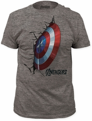 Captain America crash shield fitted tri-blend tee heather tri-blend t-shirt