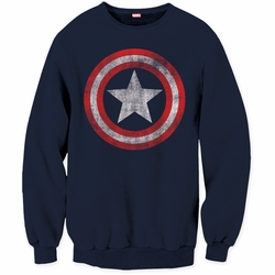 Captain America Mens crew neck sweatshirt Shield Logo