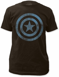 Captain America Distressed Icon 30/1 black Mens t-shirt