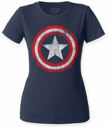 Captain America Distressed Shield womens crew t-shirt navy
