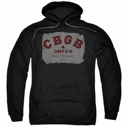 CBGB Punk Music pull-over hoodie Crumbled Logo adult black