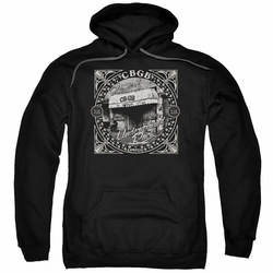 CBGB Punk Music pull-over hoodie Front Door adult black