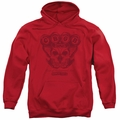 CBGB Punk Music pull-over hoodie Moth Skull adult red