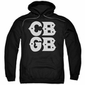 CBGB Punk Music pull-over hoodie Stacked Logo adult black