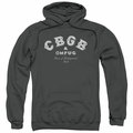 CBGB Punk Music pull-over hoodie Tattered Logo adult charcoal