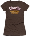 Charilie Chocolate Factory juniors t-shirt Logo coffee