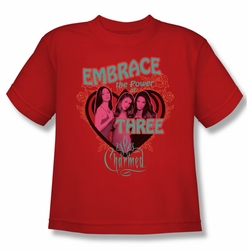 Charmed youth teen t-shirt Embrace The Power red