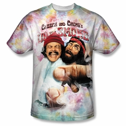 Cheech & Chong front sublimation t-shirt Fried Tie Dyed short sleeve White