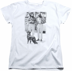 Cheech Chong womens t-shirt Dog white