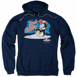 Chilly Willy pull-over hoodie Just Chillin adult navy