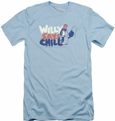 Chilly Willy slim-fit t-shirt I Say Chill mens light blue
